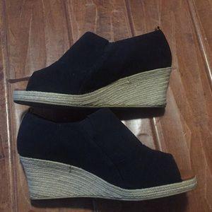 Black peep black wedge sandals 12W